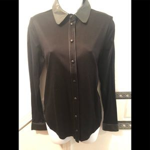 NWT faux leather collar top by Ann Taylor